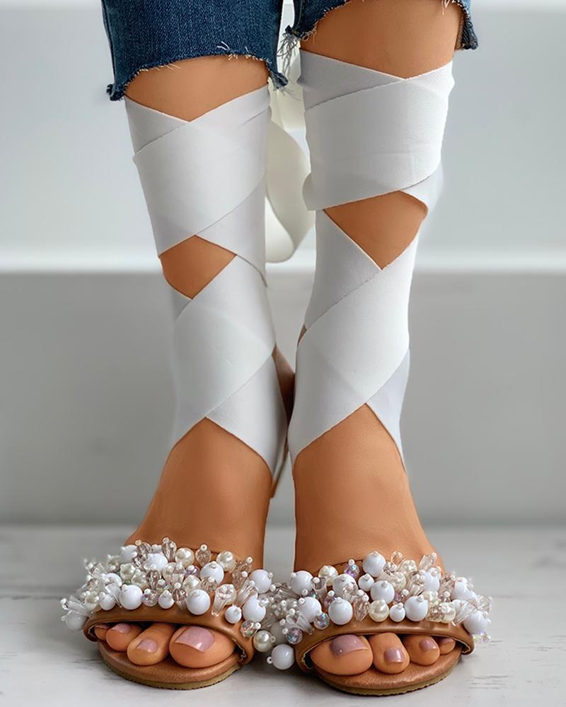 Beaded Ribbon Peep Toe Flat Sandals thumbnail