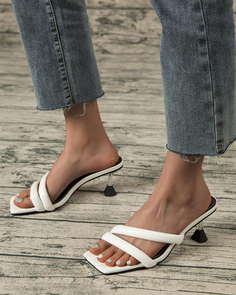 Square Toe Solid Color Straps Heel Sandals