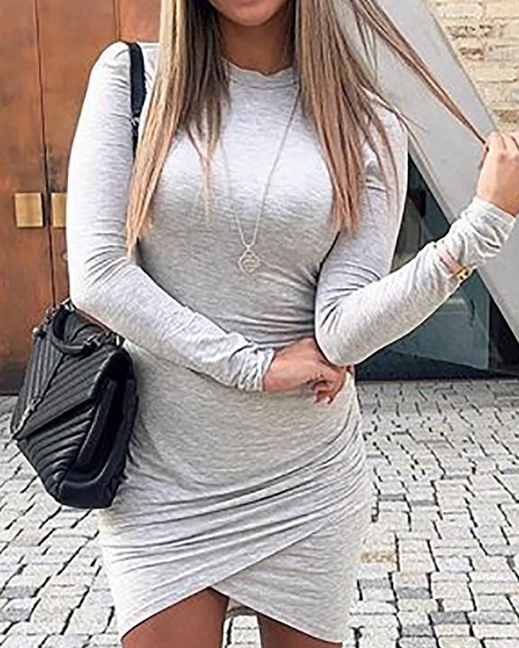 ChicMe coupon: Solid Ruched Overlap Hem Bodycon Dress