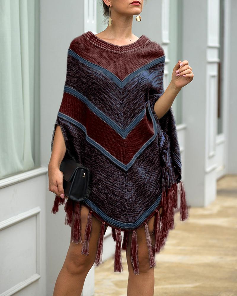 Colorblock Tassel Design Cape Sweater