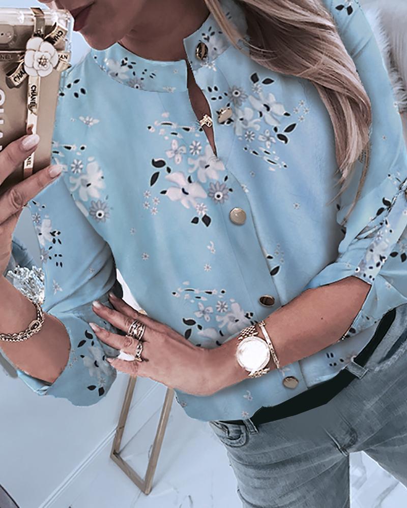 Floral Print Button Through Casual Shirt