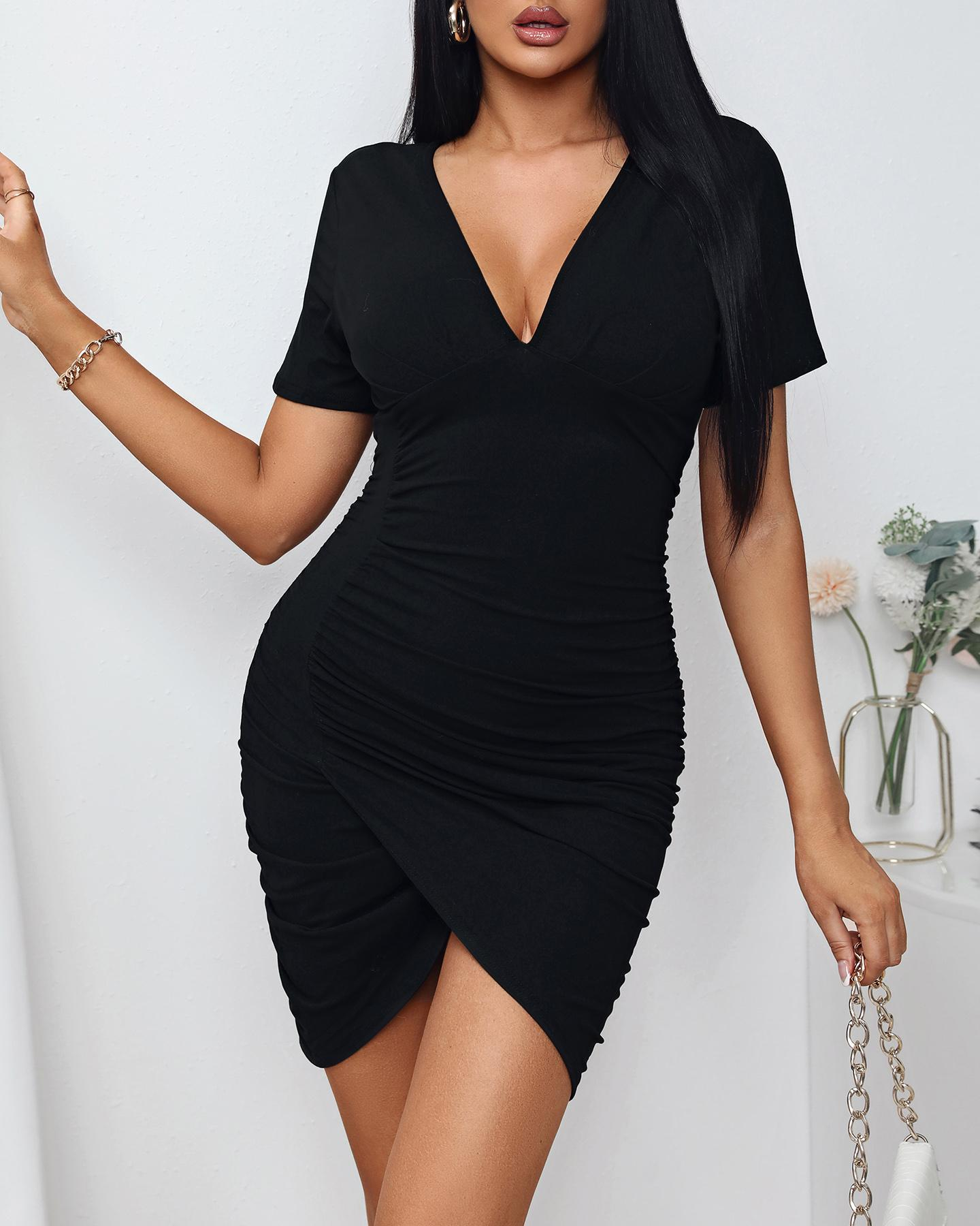 Solid Color V-Neck Ruched Bodycon Dress, chicme, black  - buy with discount