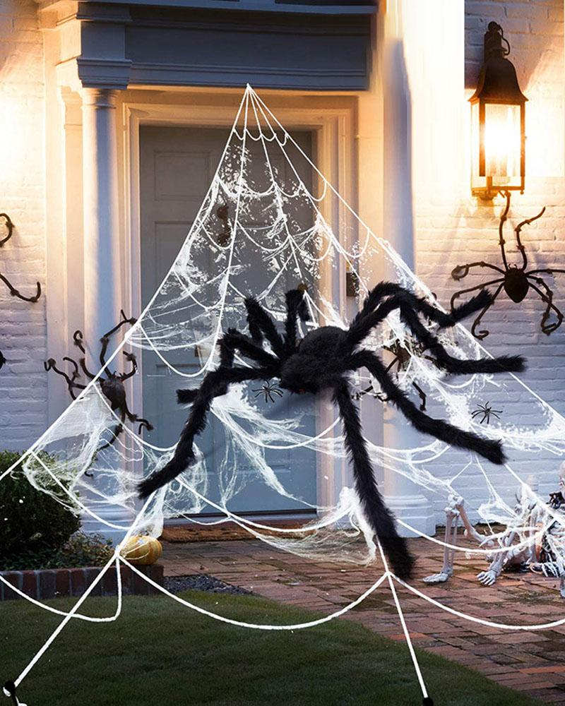 Spider Web Halloween Decorations 16FT Giant Triangular Spider Web With Fake Big Spider For Indoor Outdoor Yard Haunted House Party Halloween Decor