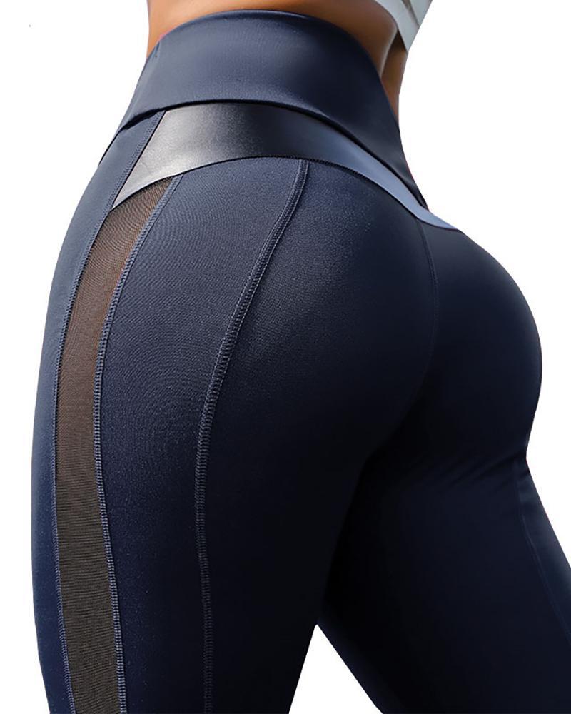 High Waist Sheer Mesh Yoga Pants Tummy Control Butt Lift Slimming Booty Leggings