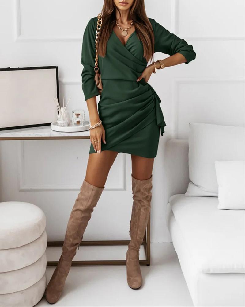Ruched Ruffles Long Sleeve Skinny Bodycon Dress