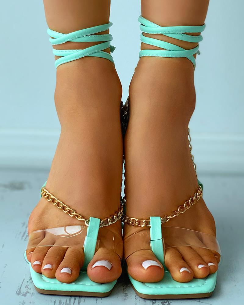 Chain Strap Toe Post Strappy Flat Sandals, Green