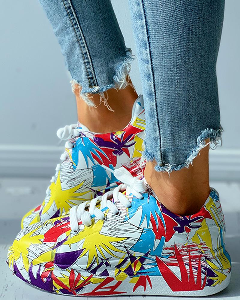 Colorblock Doodle Print Eyelet Lace-up Muffin Sneaker thumbnail