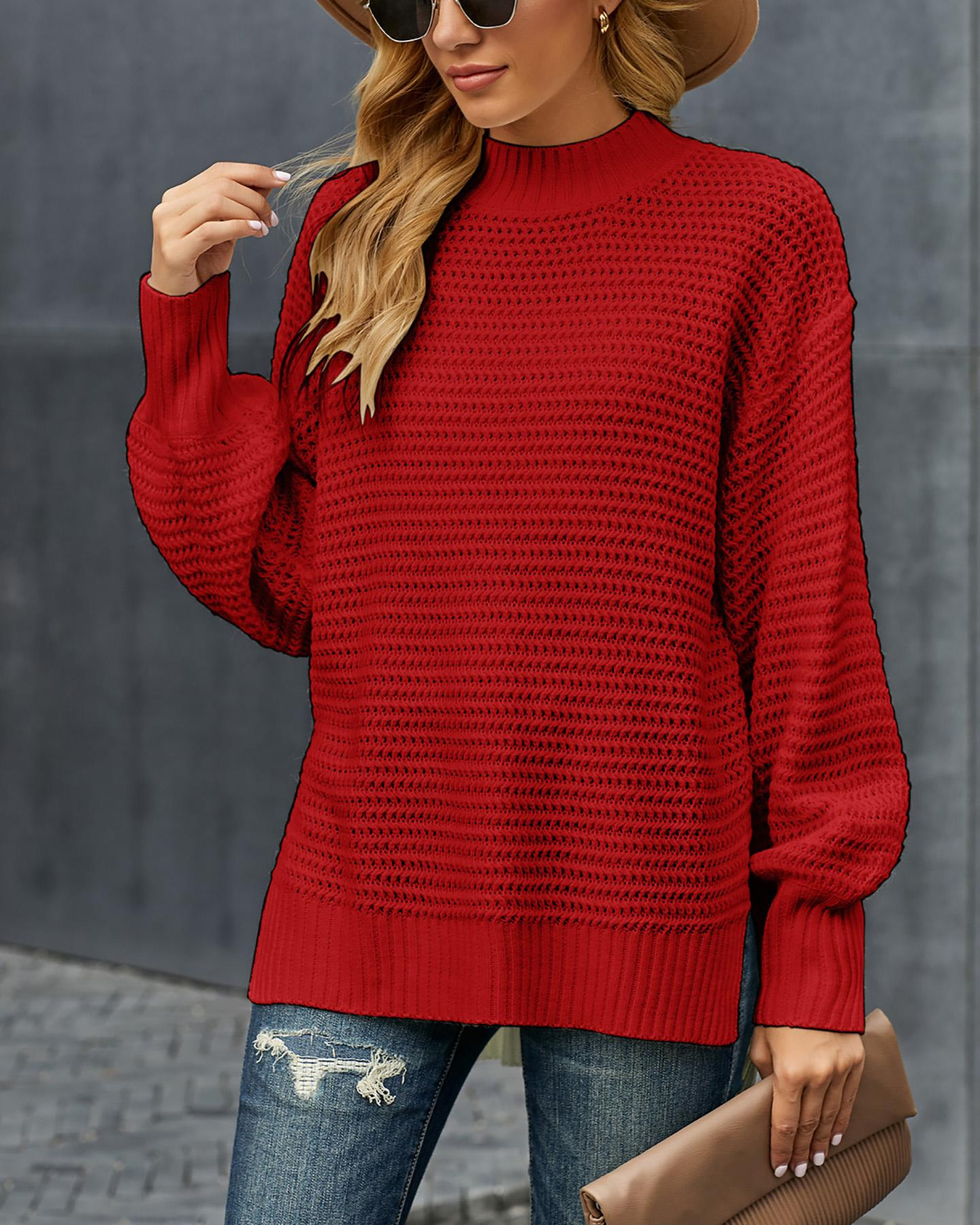 ChicMe coupon: Solid Long Sleeve Loose Slit Hem Sweater