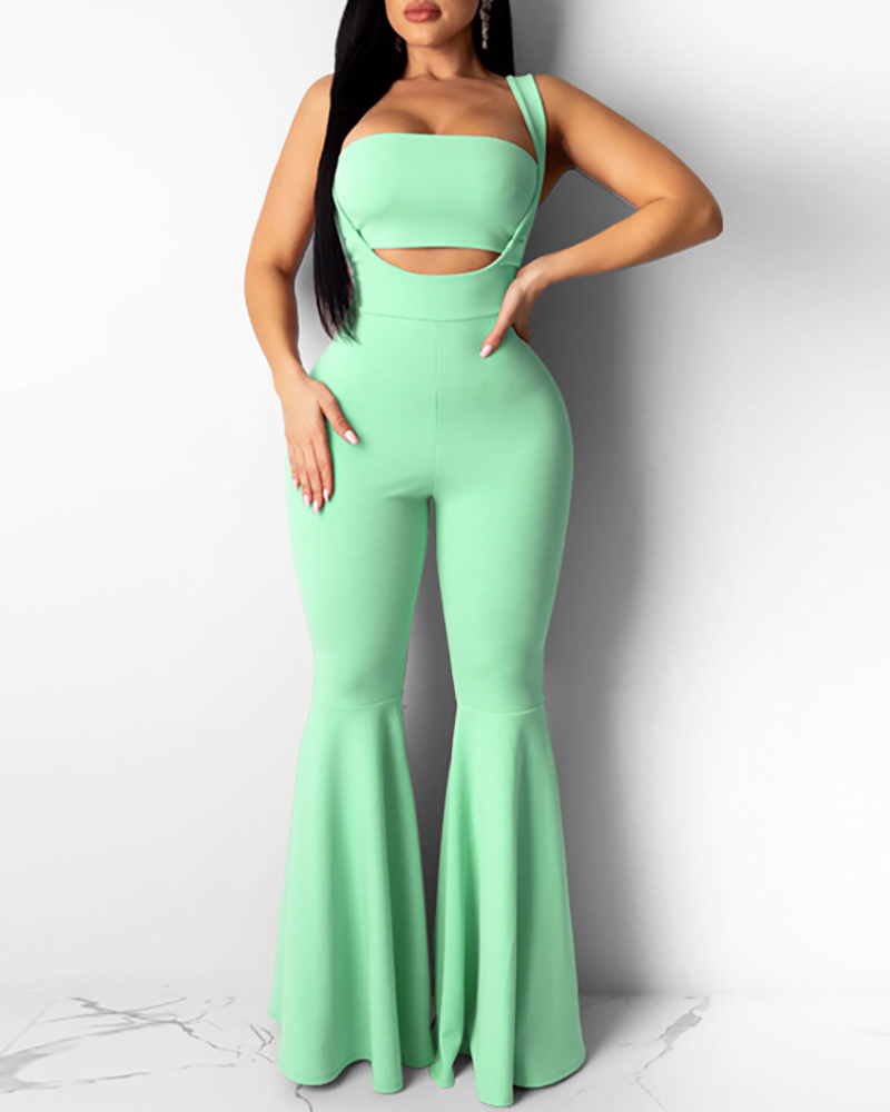 Solid Bandeau Top & Bell-bottomed Jumpsuit Set thumbnail