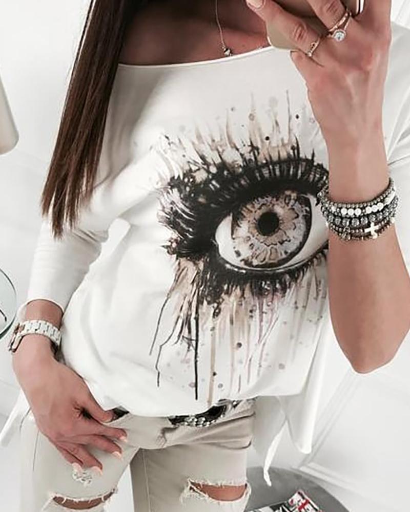 Long Sleeve Eye Pattern Casual Top