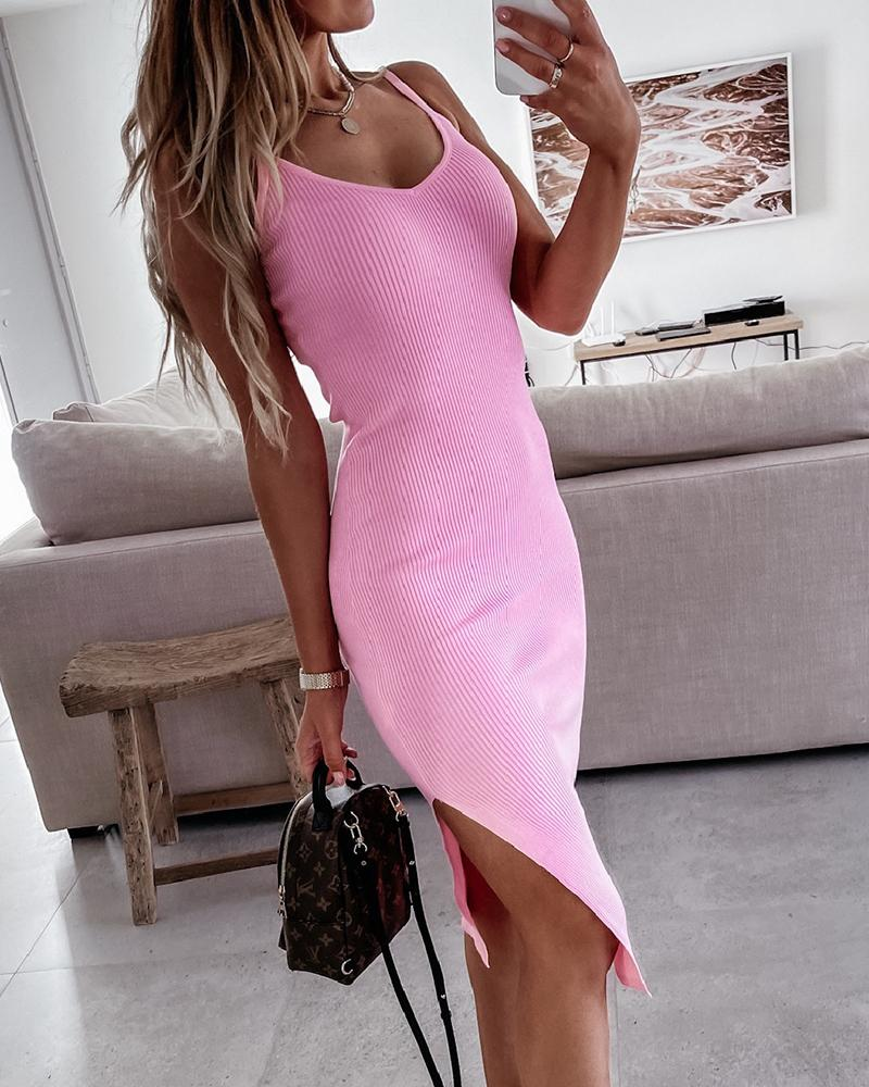 Solid Strap Slit Skinny Midi Dress