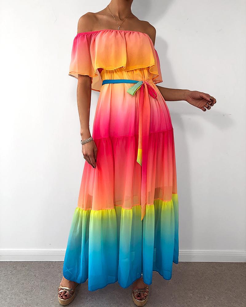 Off Shoulder Gradient Color Ruffles Maxi Dress thumbnail
