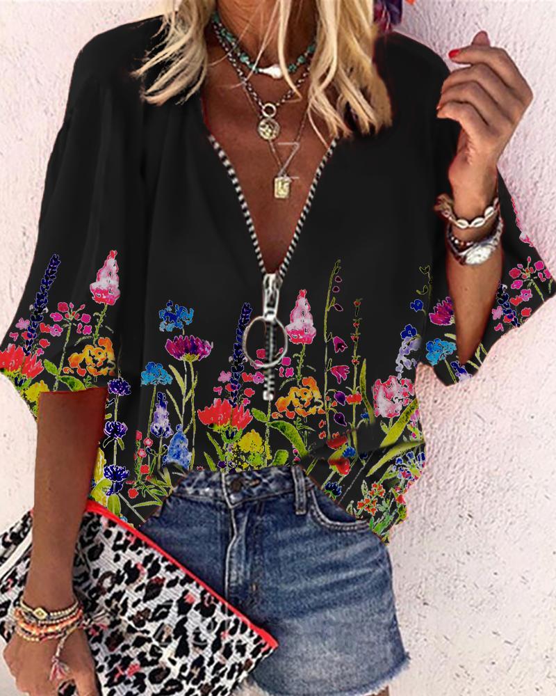 Printed Floral Lantern Sleeve Zipper Design Casual Top