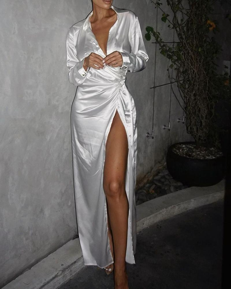 High Slit Twisted Satin Party Dress
