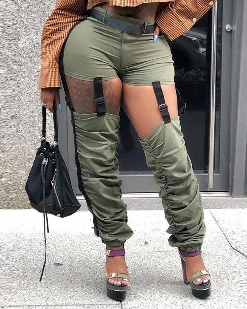 Ruched Cutout Buckled Cargo Pants