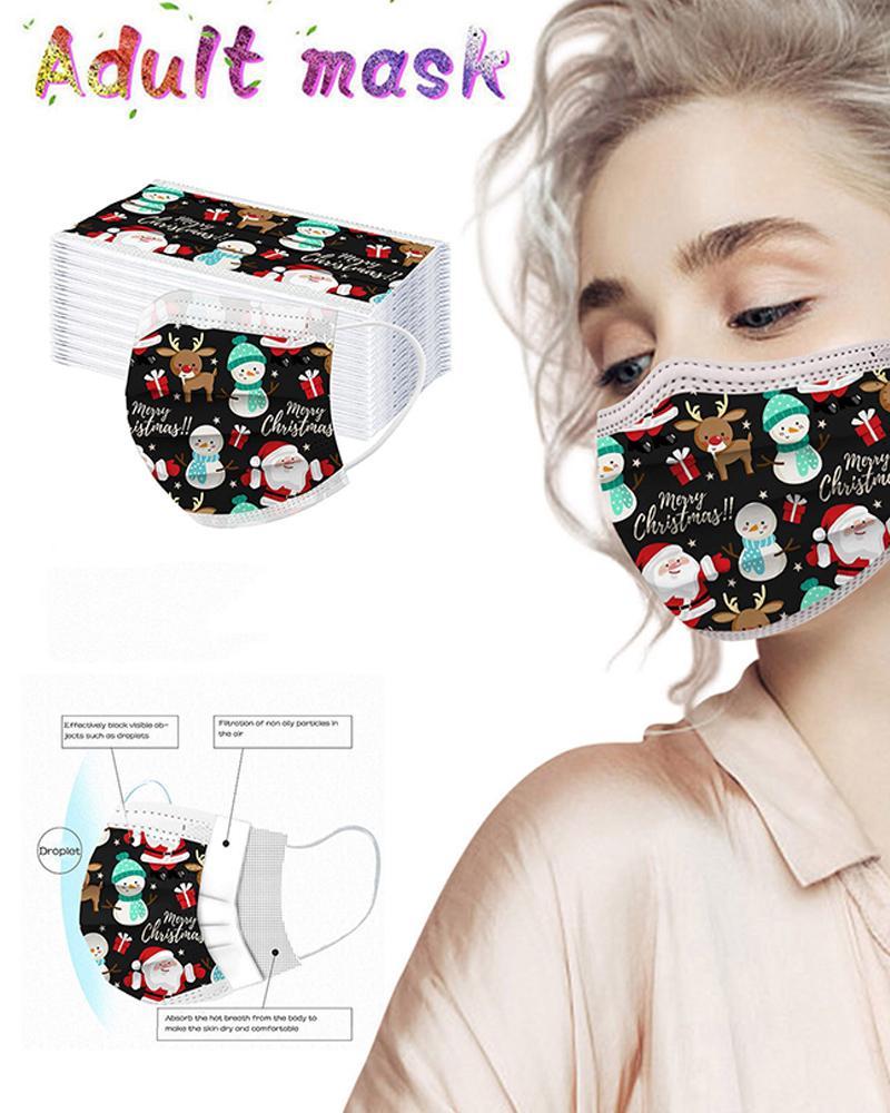 5PCS/SetChristmas Print Disposable Face Mask