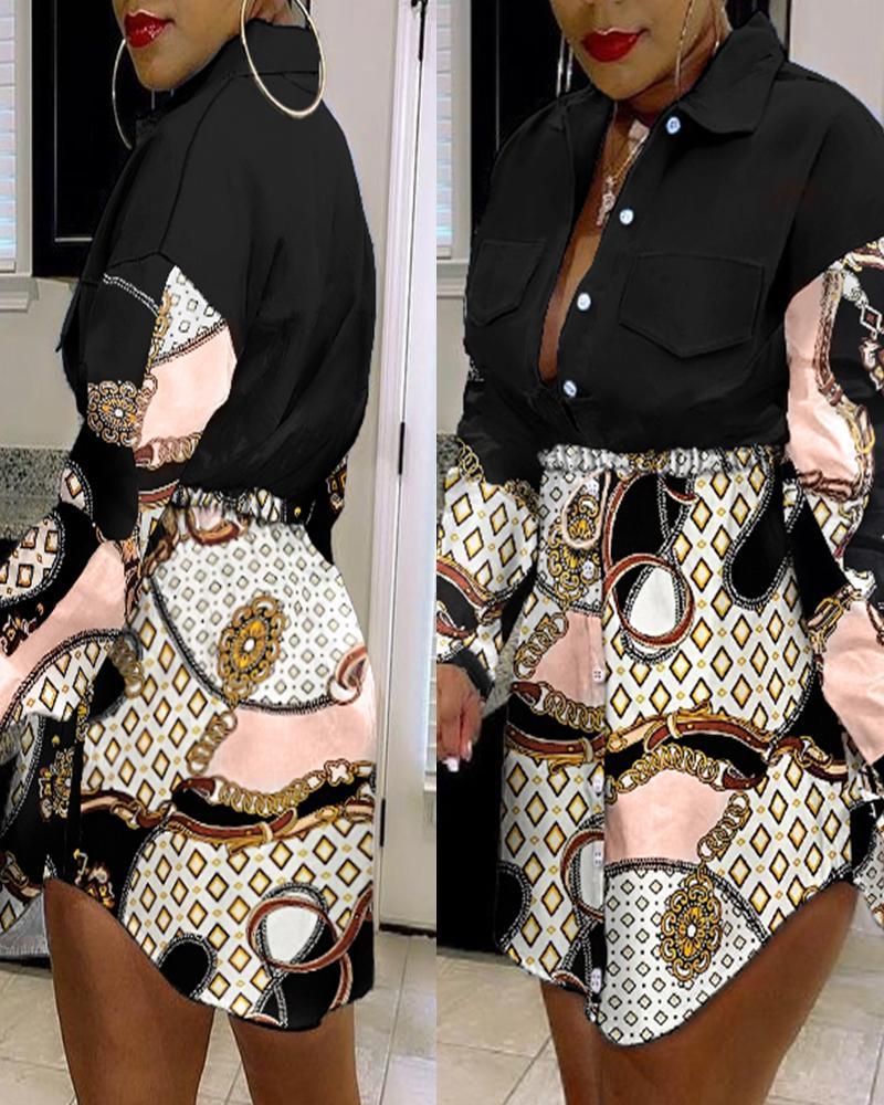 Colorblock Geometric Print Button Front Flap Detail Denim Patch Shirt Dress