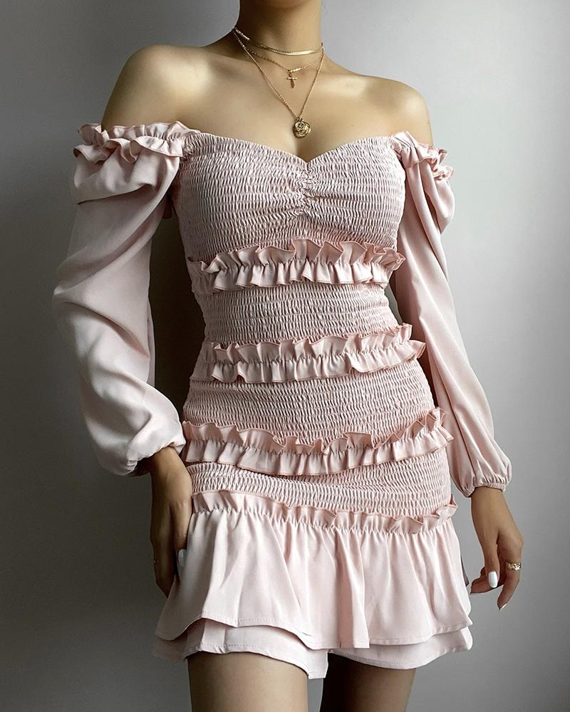 Solid Color Ruffle Hem Shirred Off Shoulder Long Sleeve Mini Dress