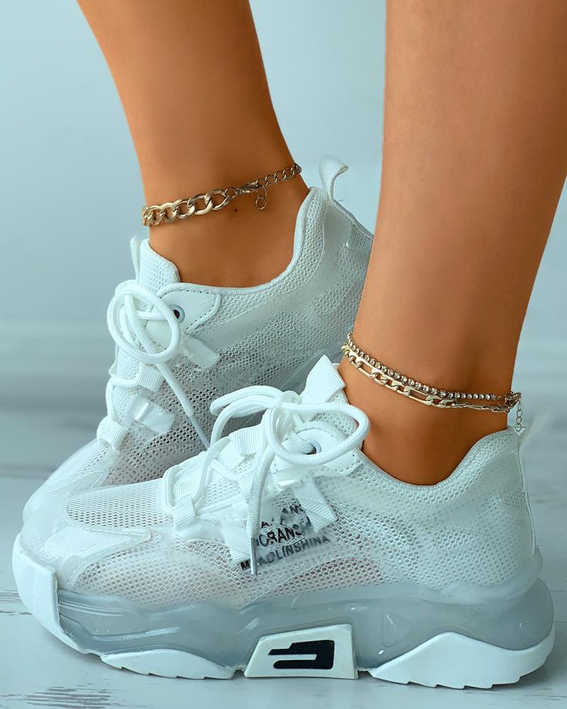 Letter Print Lace-up Breathable Muffin Sneakers