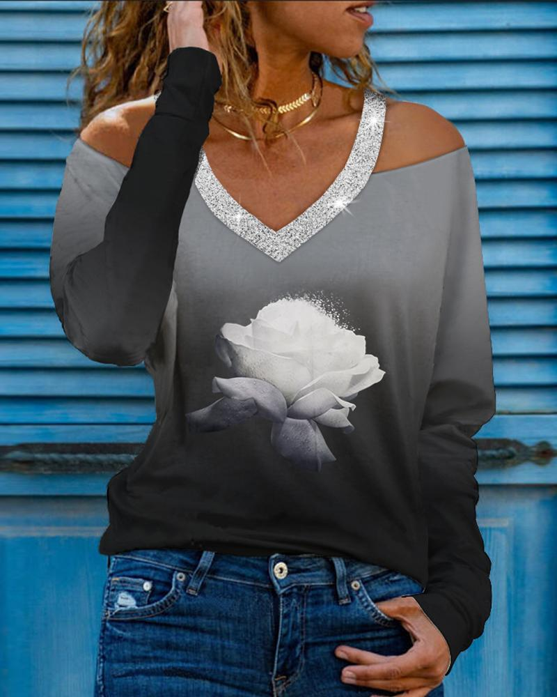 Rhinestone Floral Print Long Sleeve Cold Shoulder T-shirts