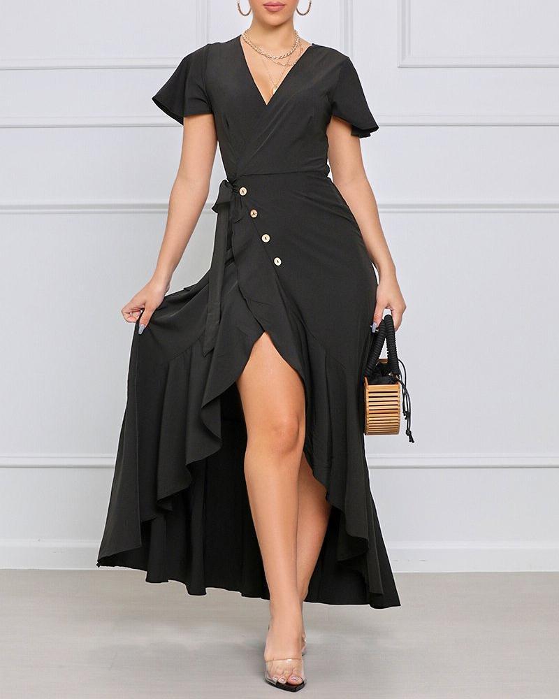 Ruffle Hem Tied Detail Buttoned Slit Maxi Dress