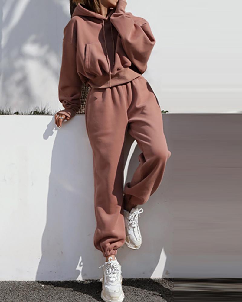 Ensemble sweat à capuche à manches longues et pantalon taille haute avec poche unie