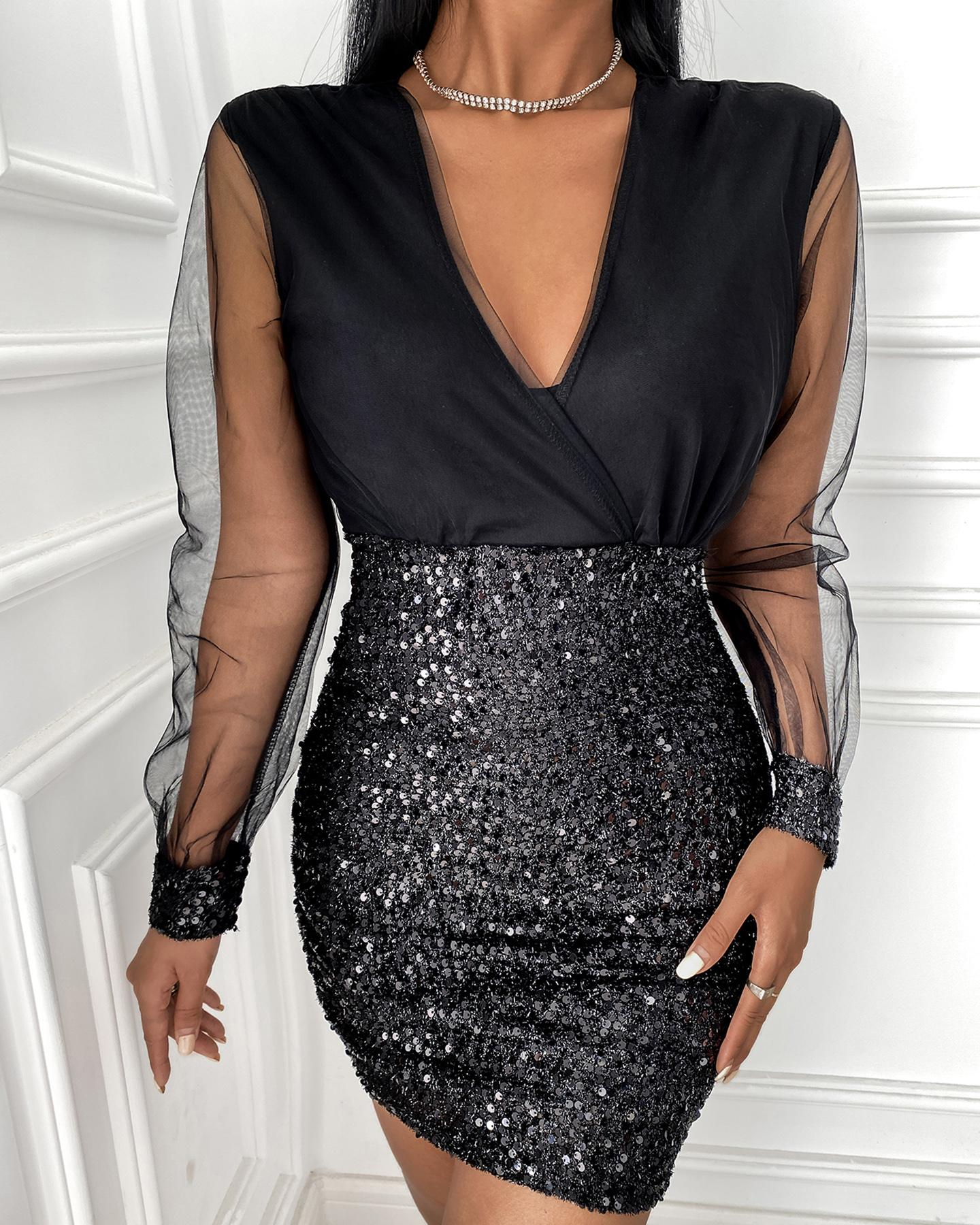 Sheer Mesh Plunge Sequins Dress