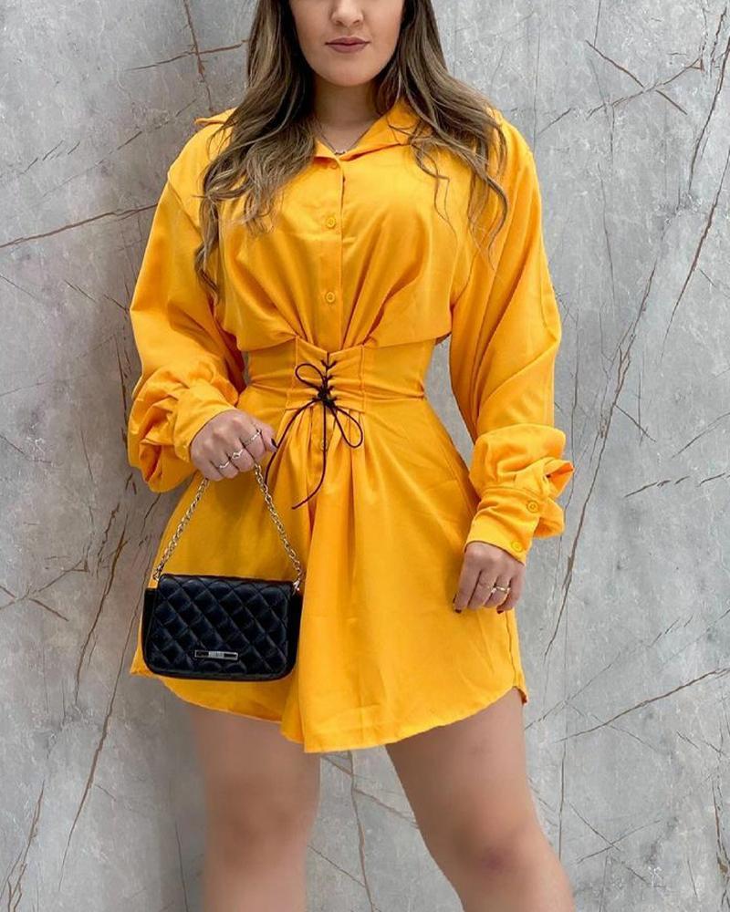 Lace-Up Button Front Lantern Sleeve Shirt Dress