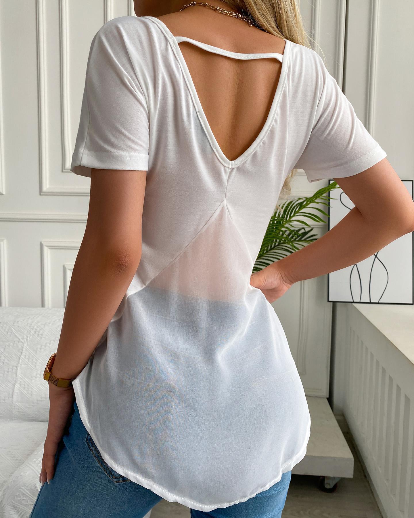 Short Sleeve Sheer Mesh Cutout Back Top, White