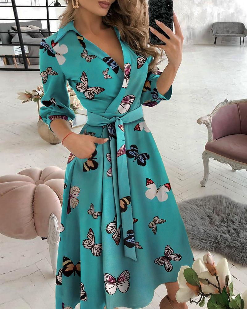 Pocket Design Butterfly Print Wrap Dress thumbnail