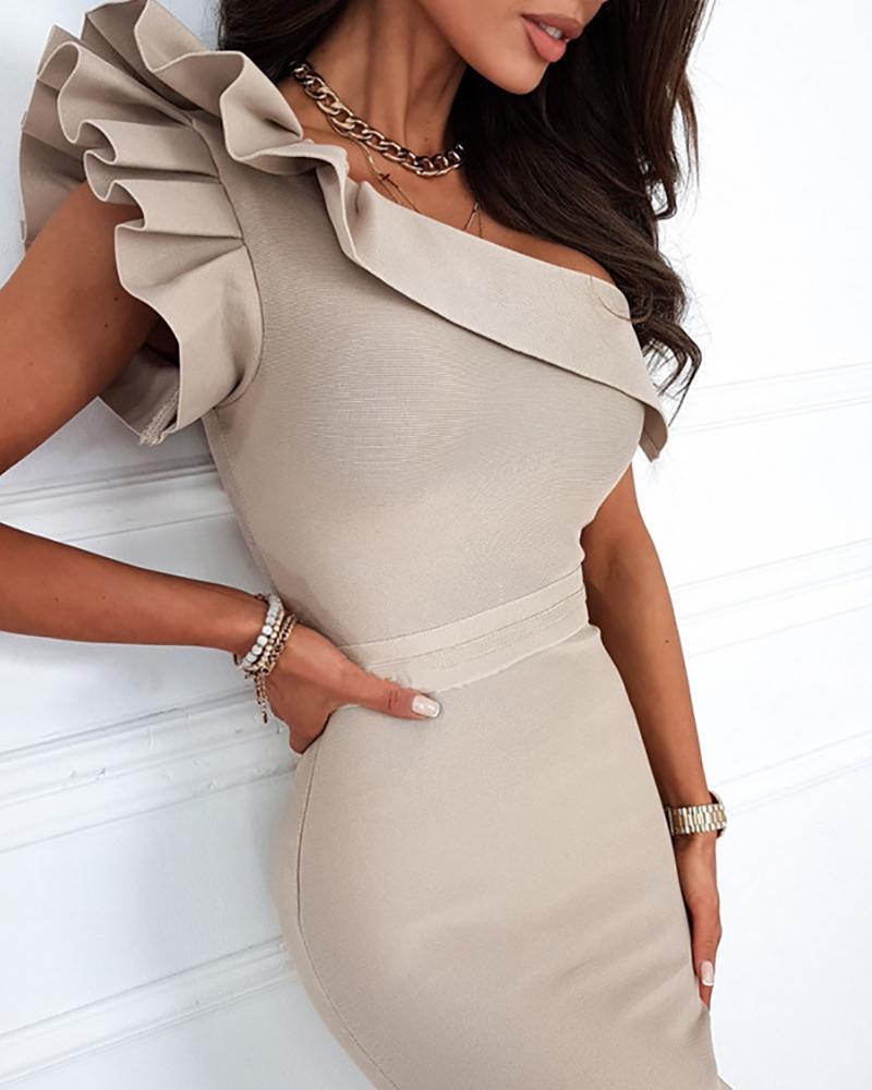 One Shoulder Ruffle Hem Bodycon Dress