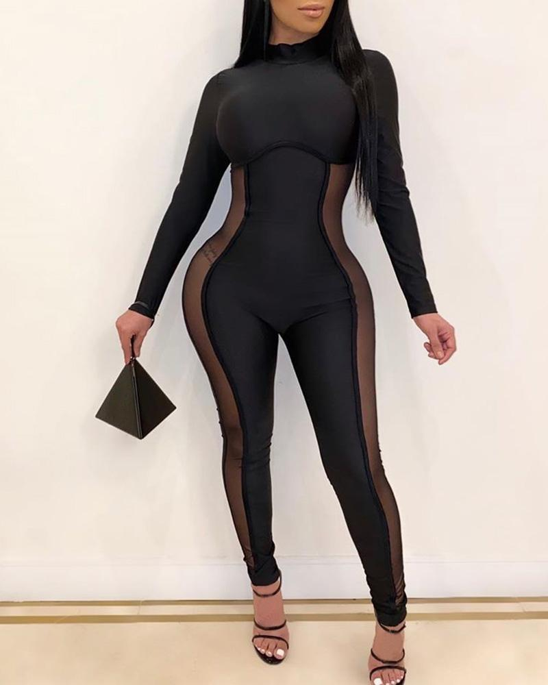 Side Stripe Long Sleeve Jumpsuit
