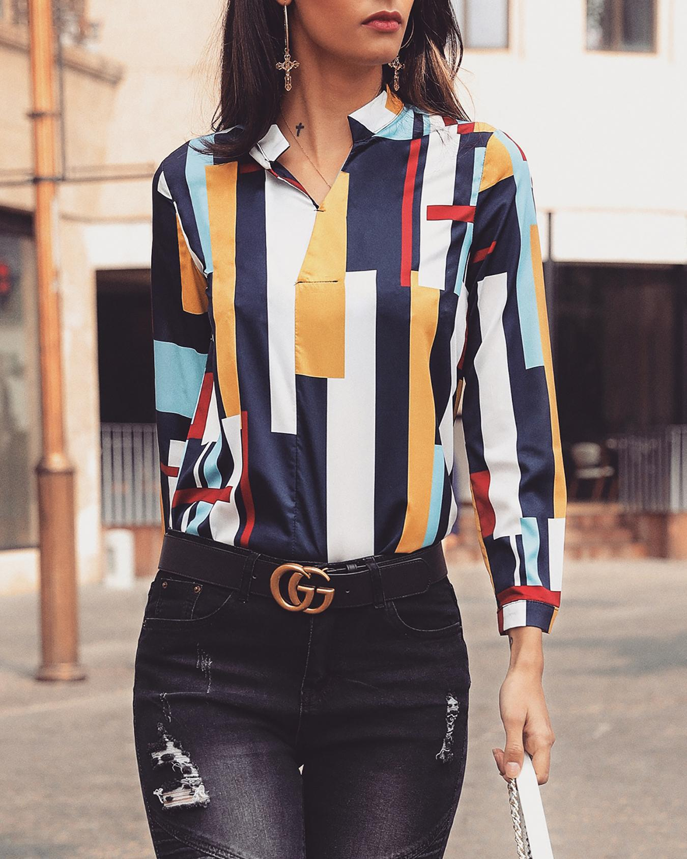 Colorful Striped V-Neck Casual Shirt