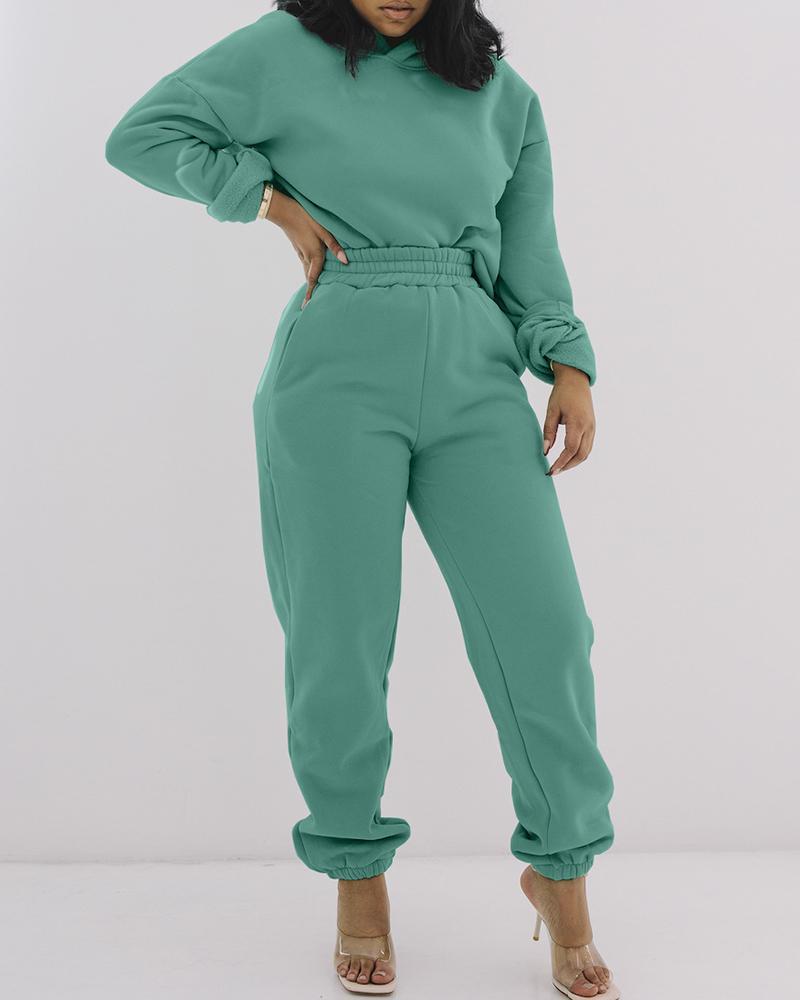 Plain Long Sleeve Top & Pants Set thumbnail