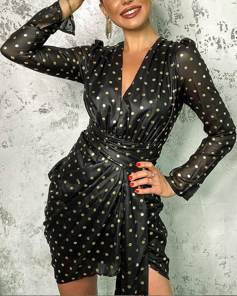 Polka Dot Gilding Ruched Belted Mini Dress