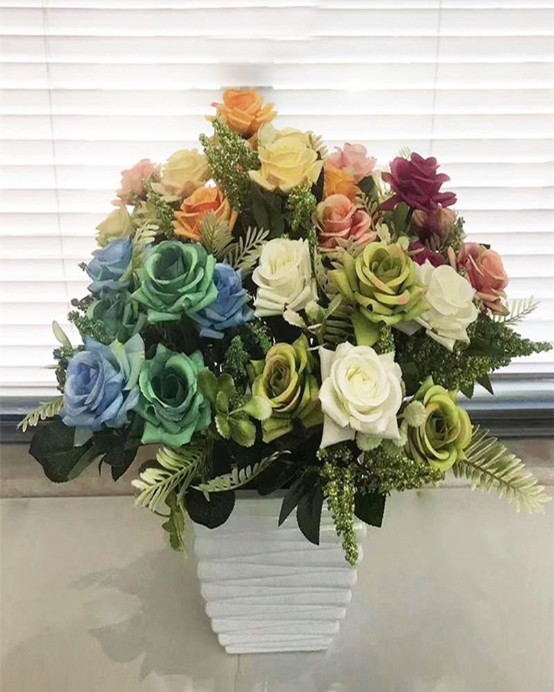 7 Heads Artificial Flowers Fake Flowers for Decoration Outdoor and Indoor Multicolor Roses Artificial Flowers for Decoration Arrangements Wedding Decoration