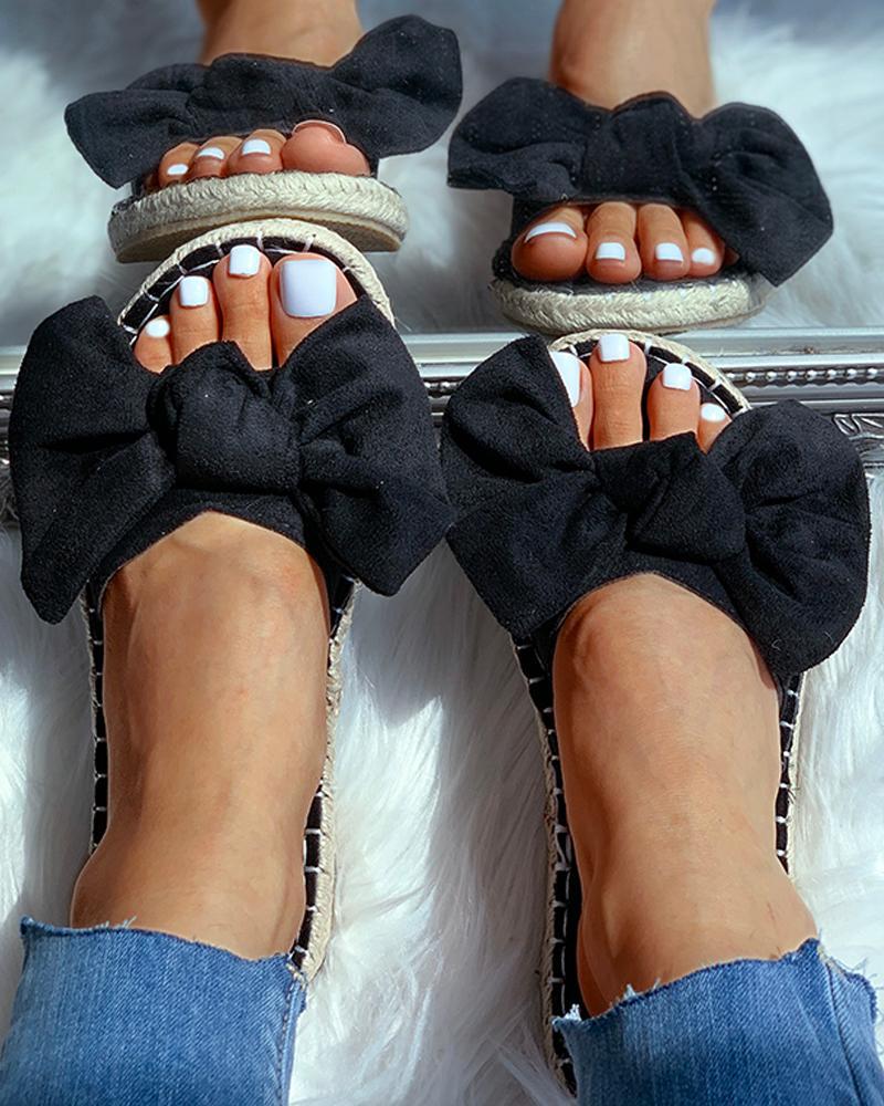 Suede Bowknot Design Sandals