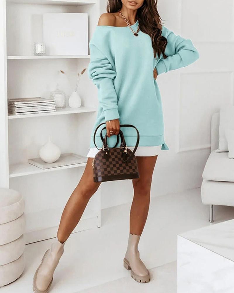 Long Sleeve Colorblock Sweatshirt Dress