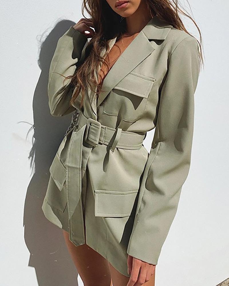 Plain Pocket Design Long Sleeve Blazer Coat