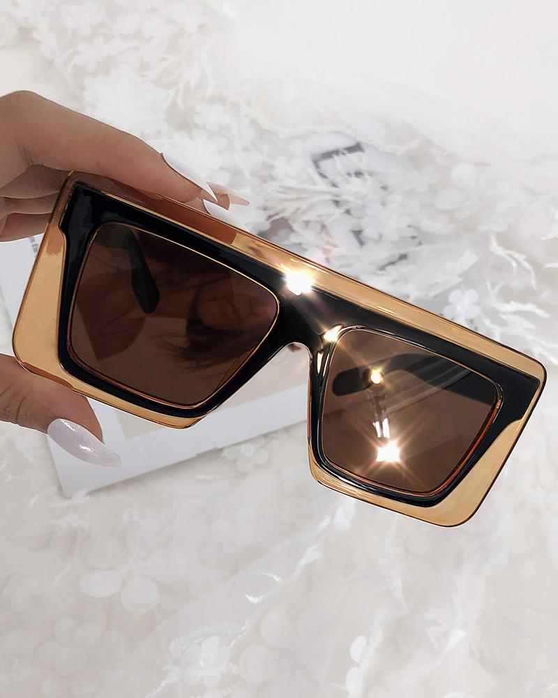 1Pair Wide Square Frame Tinted Lens Sunglasses