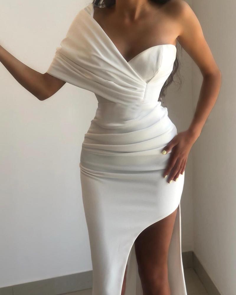 Solid Color One Shoulder Ruched High Slit Party Dress Slim Bodycon Dress Cocktail Dress