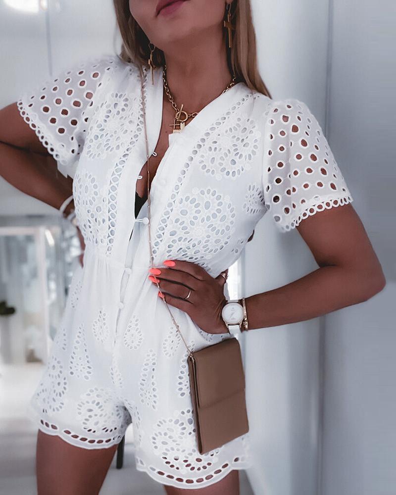 Eyelet Embroidery Short Sleeve Romper