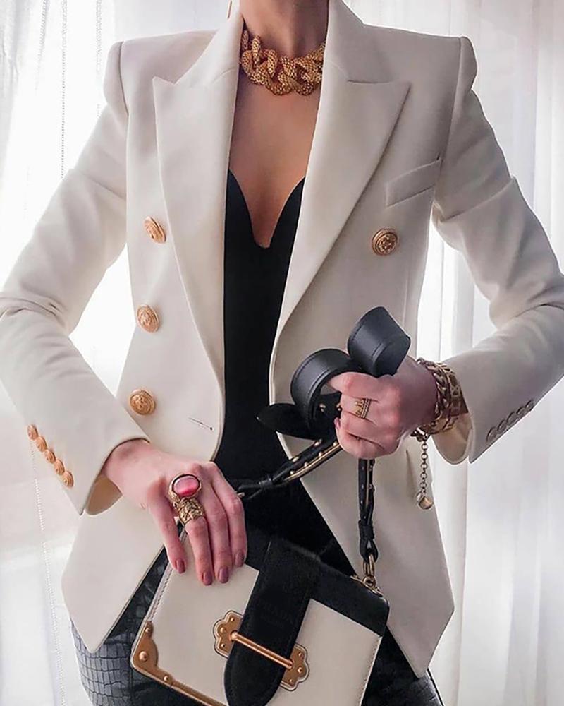 Button Decor Long Sleeve Blazer Coat