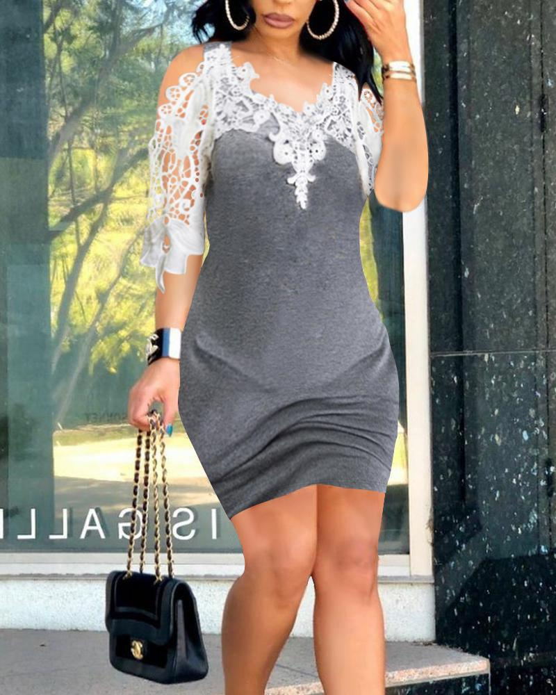 Contrast Lace Cold Shoulder Mini Bodycon Dress Casual Contrast Cold Shoulder Short Sleeve Robe