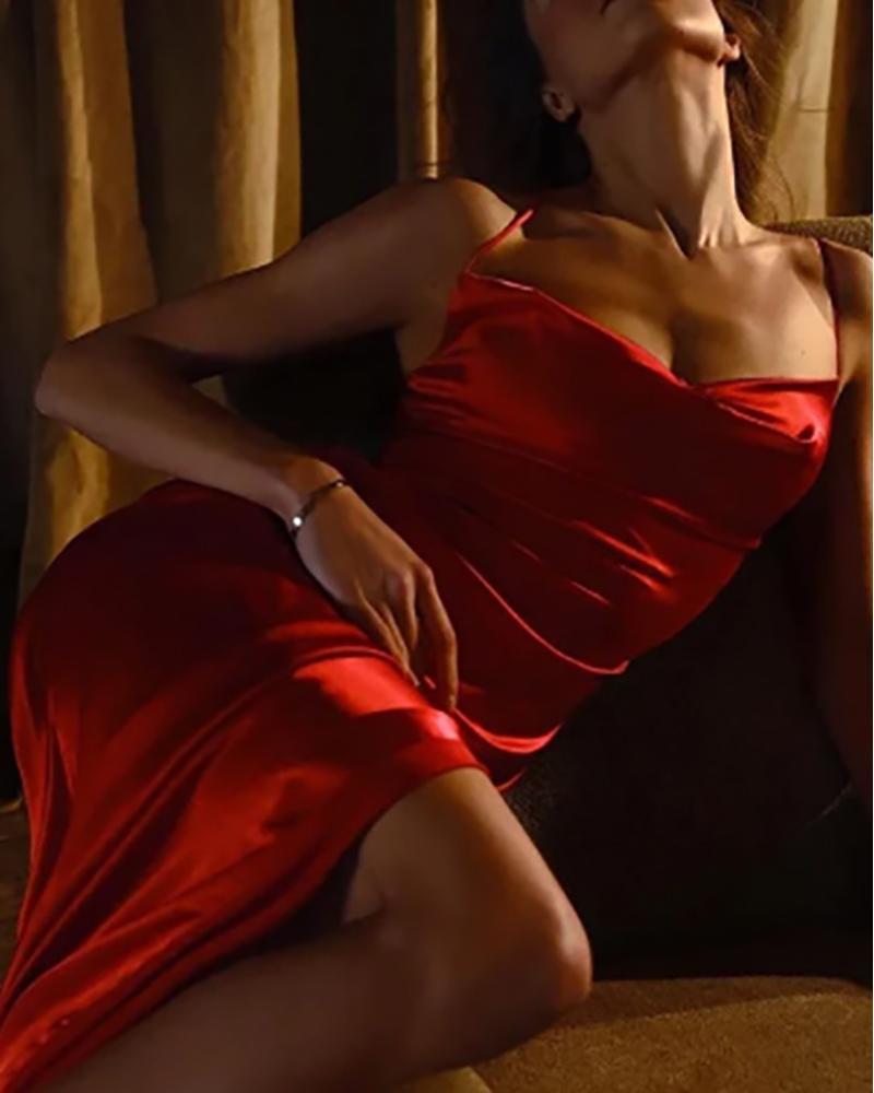 Cowl Neck Satin Ruched High Slit Evening Dress thumbnail