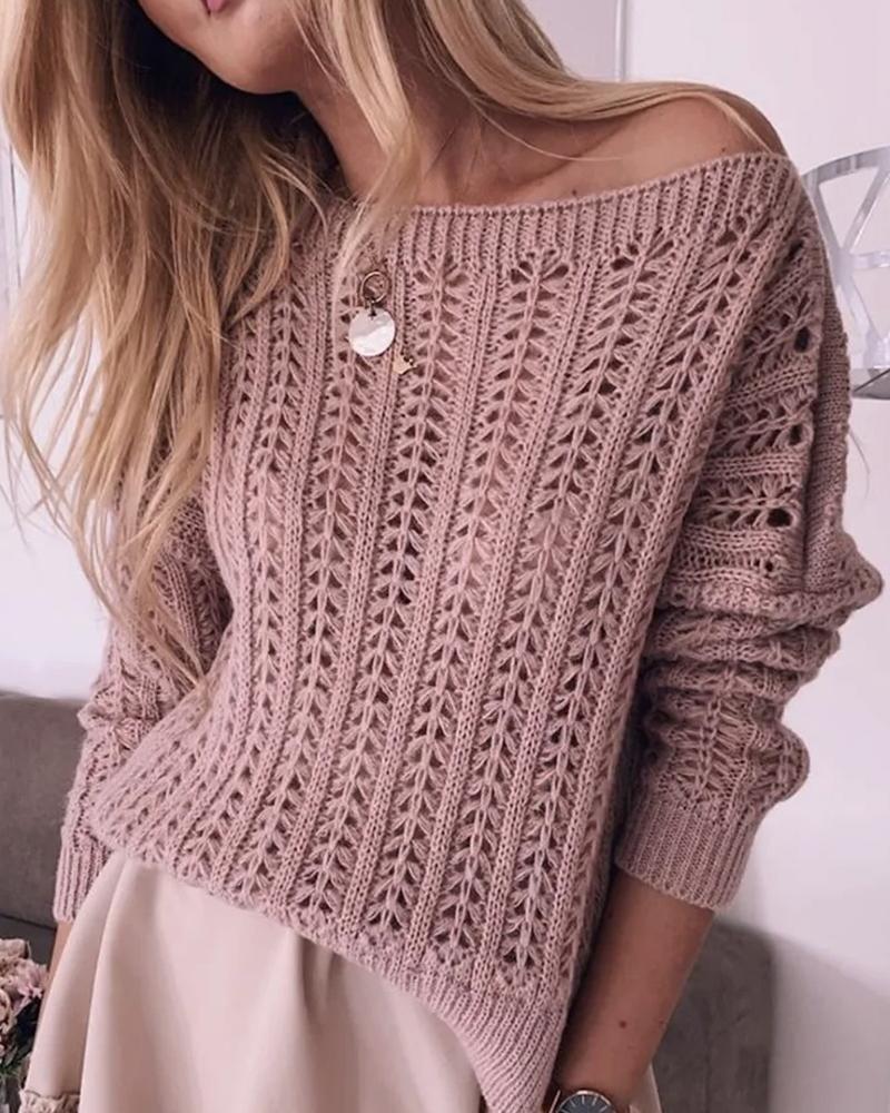 Drop Shoulder Casual Rib-knit Sweater