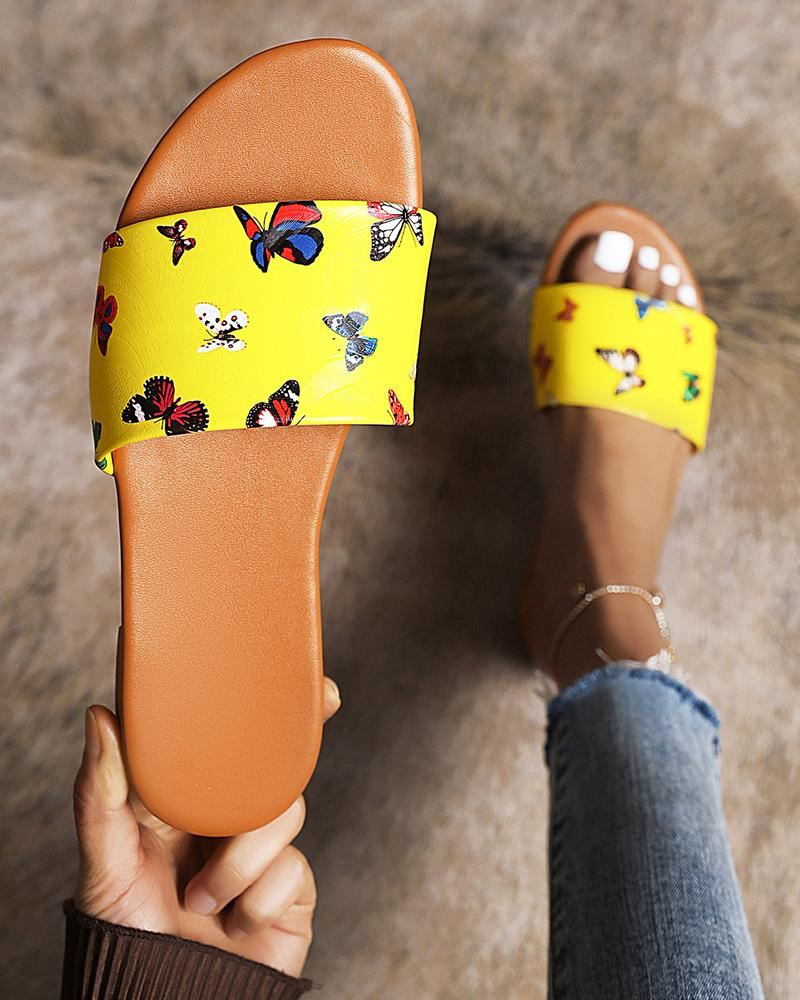 Butterfly Print Round-toe Open-toe Flat Sandals