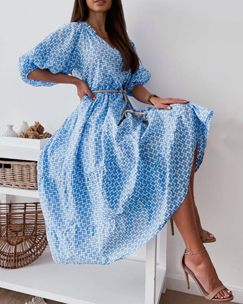Lantern Sleeve Graphic Print Casual Dress