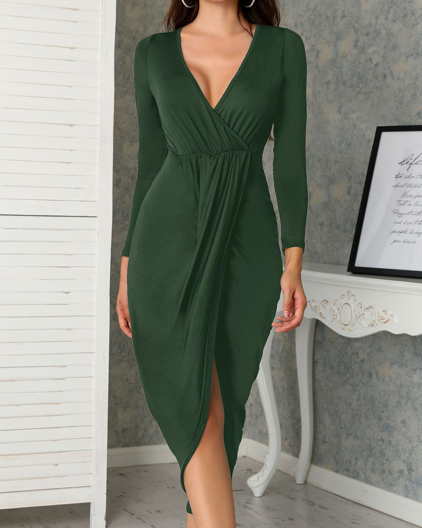 Deep V Ruched Tulip Hem Party Dress