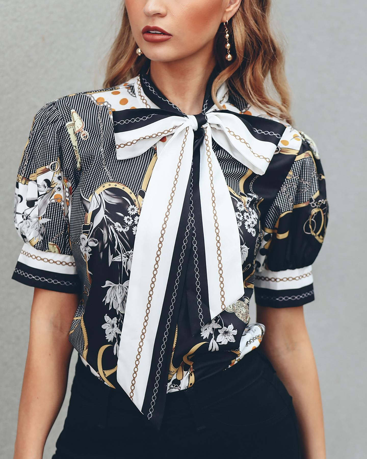 Chains Print Tied Neck Casual Blouse thumbnail